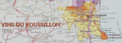 Roussillon wine region map